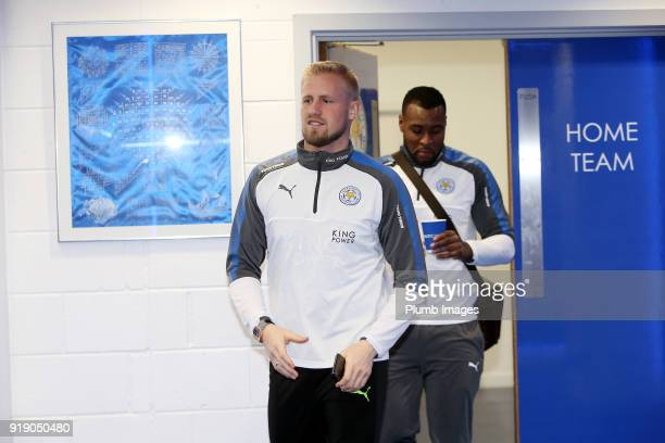 Kasper Schmeichel ahead of the FA Cup fifth round match between Leicester City and Sheffield United at King Power Stadium on February 16th 2018 in...