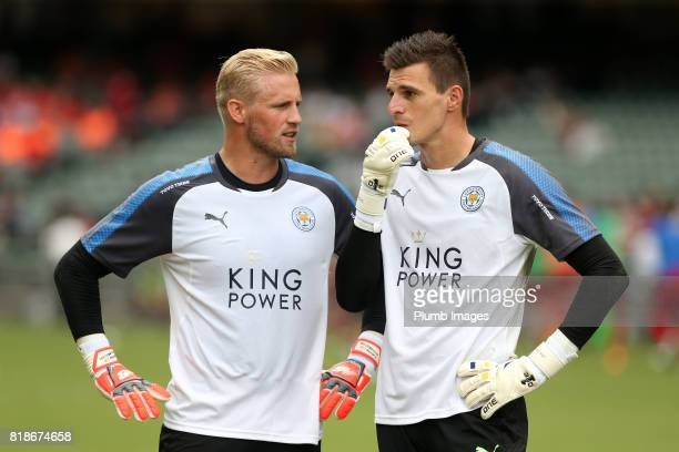 Kasper Schmeichel and Eldin Jakupovic of Leicester City at Hong Kong Stadium ahead of the Premier League Asia Trophy on July 19th 2017 in So Kon Po...