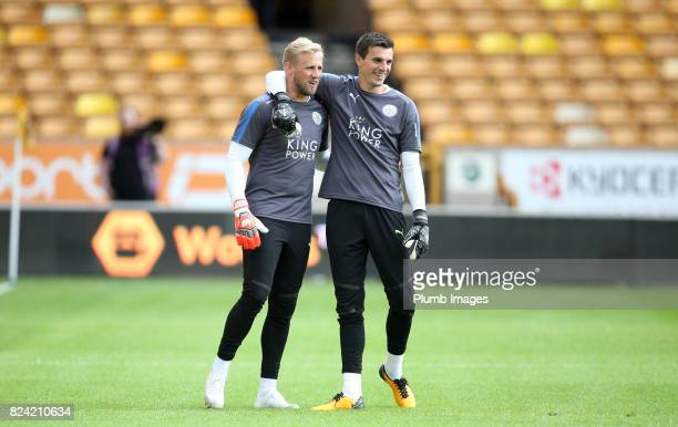 Kasper Schmeichel and Eldin Jakupovic of Leicester City at Molineux Stadium ahead of the pre season friendly between Wolverhampton Wanderers and...