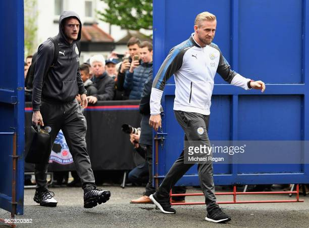 Kasper Schmeichel and Jamie Vardy of Leicester City arrive during the Premier League match between Crystal Palace and Leicester City at Selhurst Park...