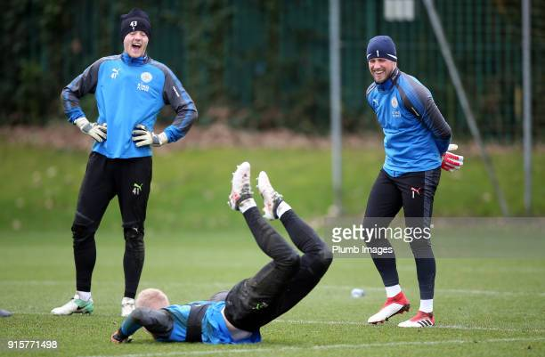 Kasper Schmeichel and Max Bramley joke with Cameron Yates during the Leicester City training session at Belvoir Drive Training Complex on February 08...