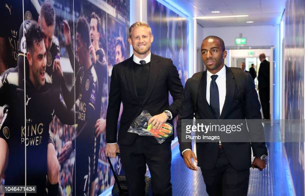 Kasper Schmeichel and Ricardo Pereira of Leicester City arrive ahead of the Premier League match between Leicester City and Everton FC at King Power...