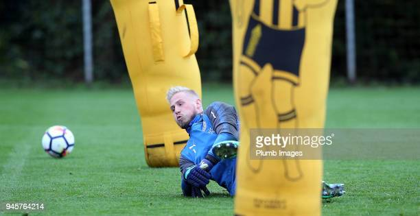 Kasper Schmeichel during the Leicester City training session at Belvoir Drive Training Complex on April 13 2018 in Leicester United Kingdom