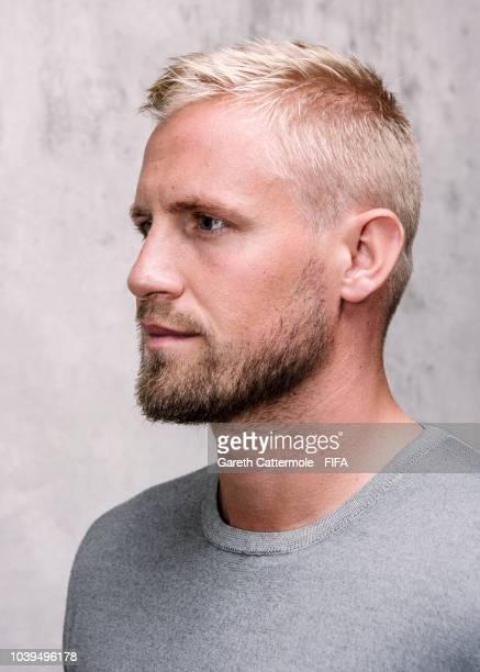 Kasper Schmeichel of Denmark and Leicester City poses for a portrait prior to The Best FIFA Football Awards at London Marriott Hotel County Hall on...