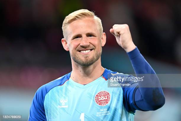 Kasper Schmeichel of Denmark celebrates after victory in the UEFA Euro 2020 Championship Group B match between Russia and Denmark at Parken Stadium...