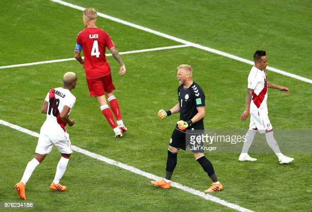 Kasper Schmeichel of Denmark celebrates following Christian Cueva of Peru missing a penalty during the 2018 FIFA World Cup Russia group C match...