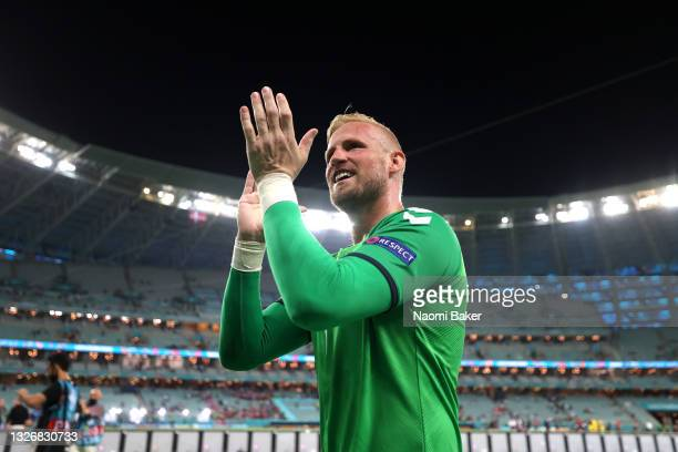 Kasper Schmeichel of Denmark celebrates their side's victory after the UEFA Euro 2020 Championship Quarter-final match between Czech Republic and...