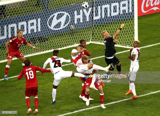 Kasper Schmeichel of Denmark clears the ball during the 2018 FIFA World Cup Russia group C match between Peru and Denmark at Mordovia Arena on June...