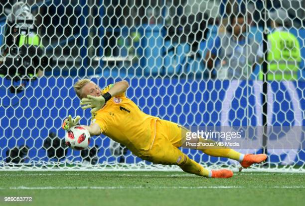 Kasper Schmeichel of Denmark defends the penalty kick during the 2018 FIFA World Cup Russia Round of 16 match between Croatia and Denmark at Nizhny...