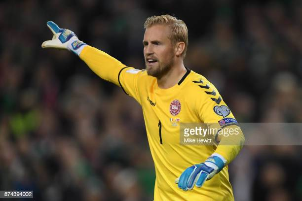 Kasper Schmeichel of Denmark in action during the FIFA 2018 World Cup Qualifier PlayOff Second Leg between Republic of Ireland and Denmark at Aviva...