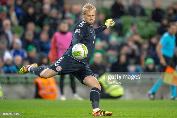 Kasper Schmeichel of Denmark kicks the ball during the UEFA Nations League B match between Republic of Ireland and Denmark at Aviva Stadium in Dublin...