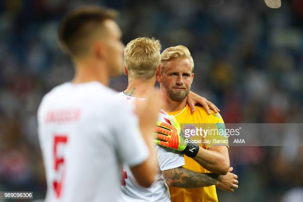 Kasper Schmeichel of Denmark looks dejected after his team lost a penalty shootout during the 2018 FIFA World Cup Russia Round of 16 match between...