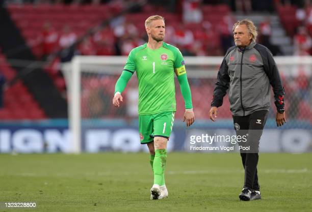 Kasper Schmeichel of Denmark looks dejected after the UEFA Euro 2020 Championship Group B match between Denmark and Finland on June 12, 2021 in...
