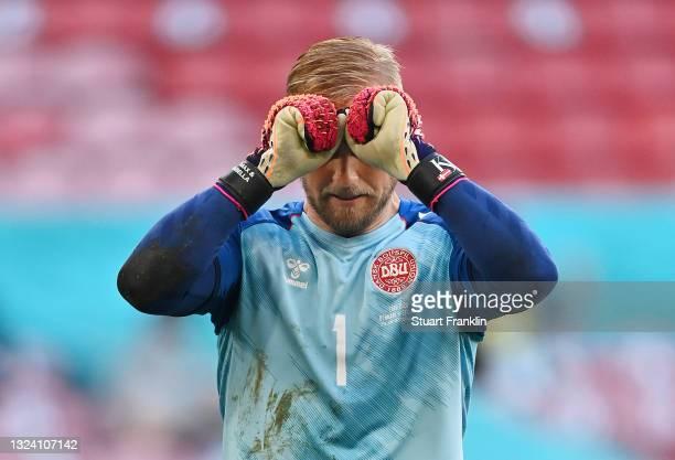 Kasper Schmeichel of Denmark looks dejected during the UEFA Euro 2020 Championship Group B match between Denmark and Belgium at Parken Stadium on...