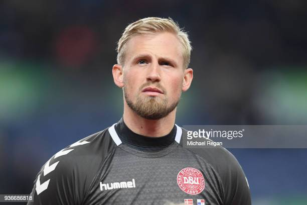 Kasper Schmeichel of Denmark looks on before the International Friendly match between Denmark and Panama at Brondby Stadion on March 22 2018 in...