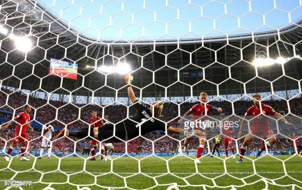 Kasper Schmeichel of Denmark makes a save during the 2018 FIFA World Cup Russia group C match between Peru and Denmark at Mordovia Arena on June 16...
