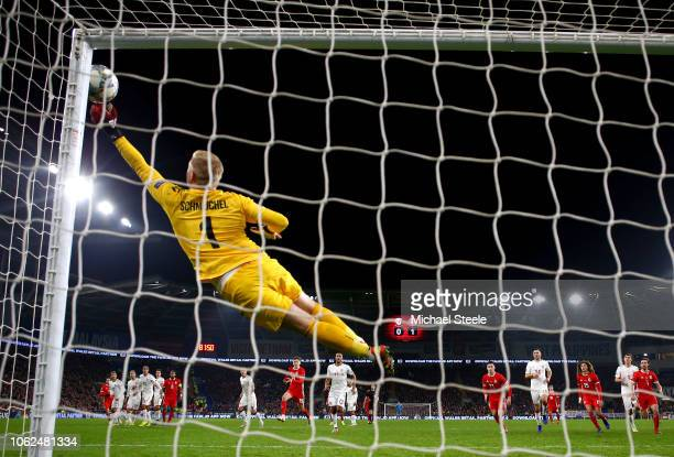 Kasper Schmeichel of Denmark makes a save from a Gareth Bale of Wales freekick during the UEFA Nations League Group B match between Wales and Denmark...