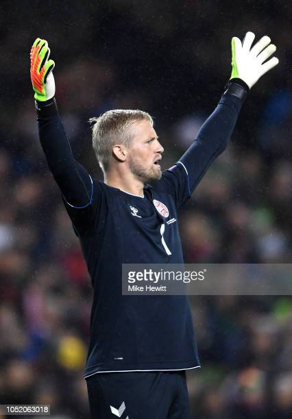 Kasper Schmeichel of Denmark reacts during the UEFA Nations League B group four match between Ireland and Denmark at Aviva Stadium on October 13 2018...