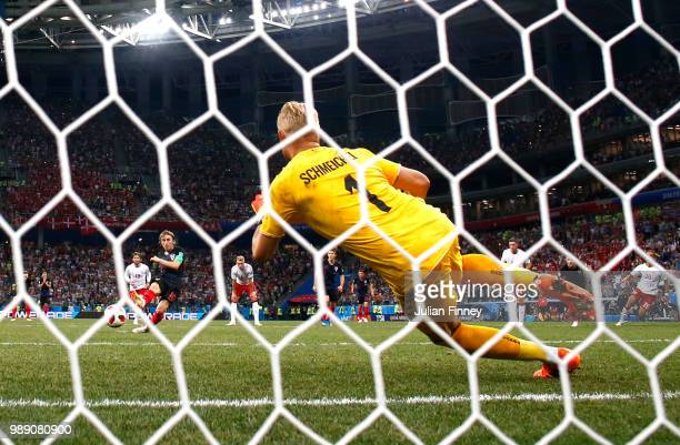 Kasper Schmeichel of Denmark saves a penalty from Luka Modric of Croatia during the 2018 FIFA World Cup Russia Round of 16 match between Croatia and...