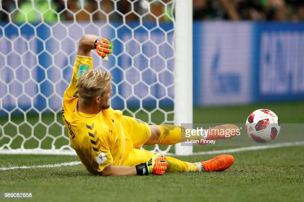 Kasper Schmeichel of Denmark saves the first penalty from Milan Badelj of Croatia in the penalty shoot out during the 2018 FIFA World Cup Russia...