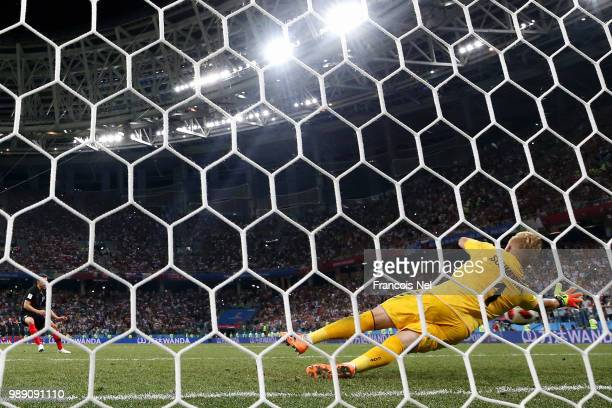 Kasper Schmeichel of Denmark saves the fourth penalty from Josip Pivaric of Croatia in the penalty shoot out during the 2018 FIFA World Cup Russia...