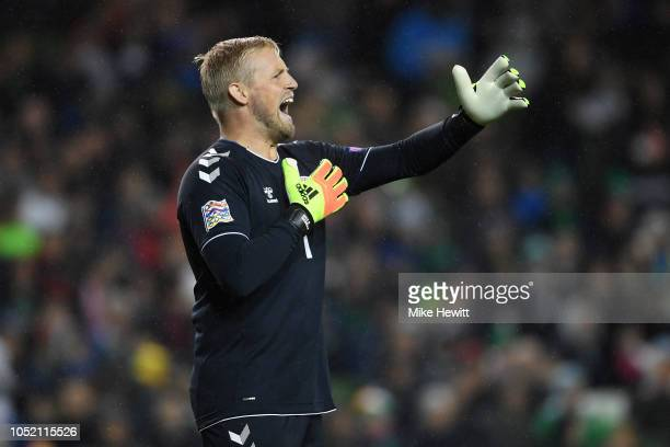 Kasper Schmeichel of Denmark shouts instructions during the UEFA Nations League B Group Four match between Ireland and Denmark at Aviva Stadium on...