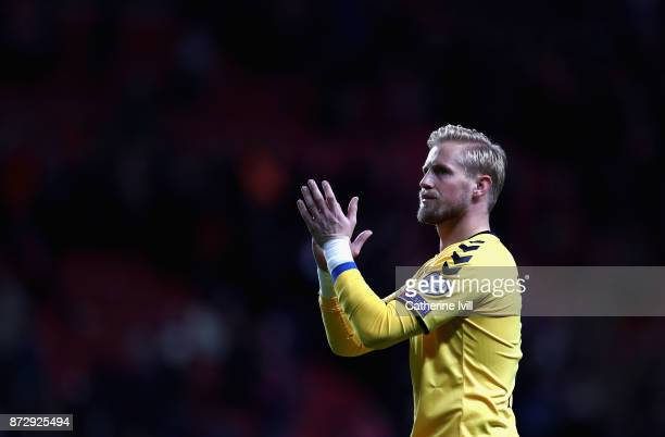 Kasper Schmeichel of Denmark shows appreciation to the fans after the FIFA 2018 World Cup Qualifier PlayOff First Leg between Denmark and Republic of...