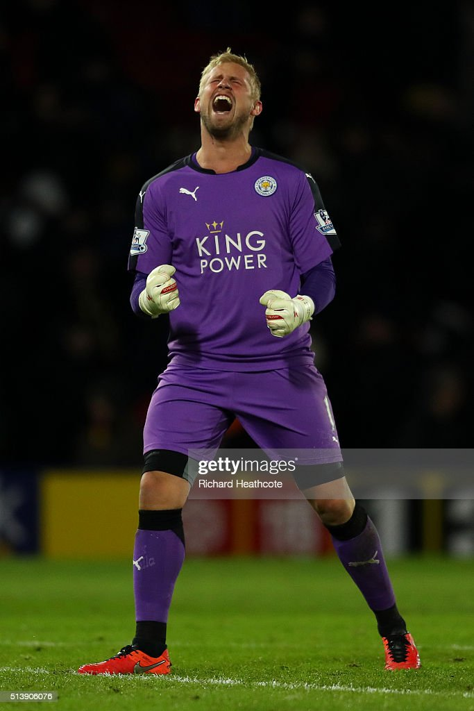 Kasper Schmeichel of Leicester celebrates victory at the final whistle during the Barclays Premier League match between Watford and Leicester City at Vicarage Road on March 5, 2016 in Watford, England.