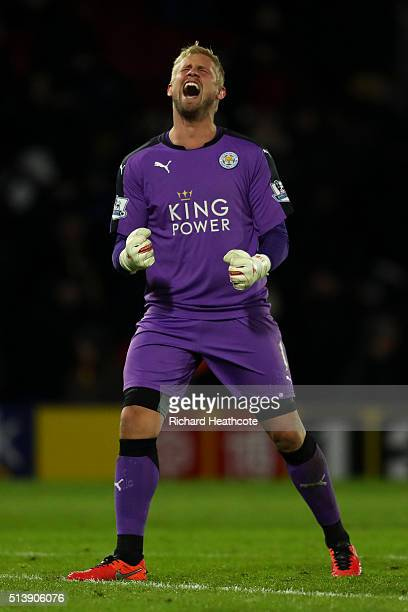 Kasper Schmeichel of Leicester celebrates victory at the final whistle during the Barclays Premier League match between Watford and Leicester City at...
