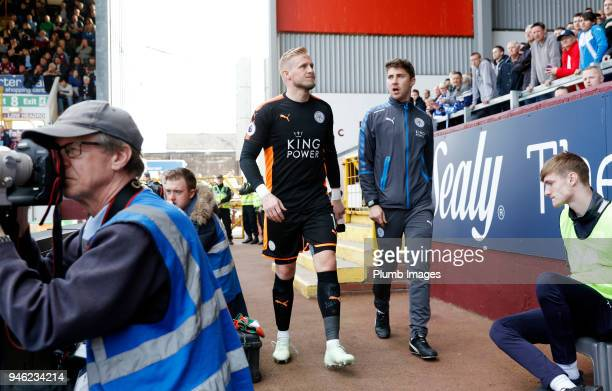 Kasper Schmeichel of Leicester City after going off injured during the Premier League match between Burnley and Leicester City at Turf Moor on April...