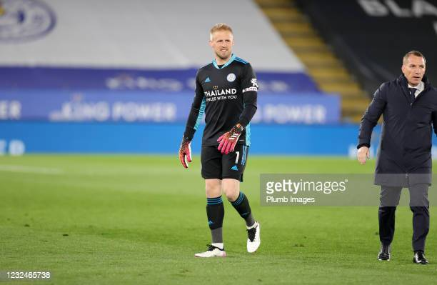 Kasper Schmeichel of Leicester City after the Premier League match between Leicester City and West Bromwich Albion at The King Power Stadium on April...
