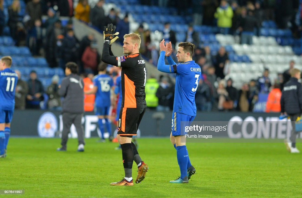 Kasper Schmeichel of Leicester City applaud the home fans after the Premier League match between Leicester City and Watford at King Power Stadium on January 20th , 2018 in Leicester, United Kingdom.