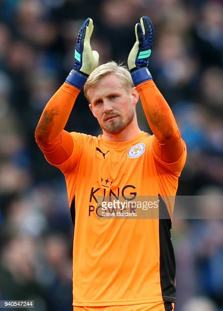 Kasper Schmeichel of Leicester City applauds the fans after the Premier League match between Brighton and Hove Albion and Leicester City at Amex...