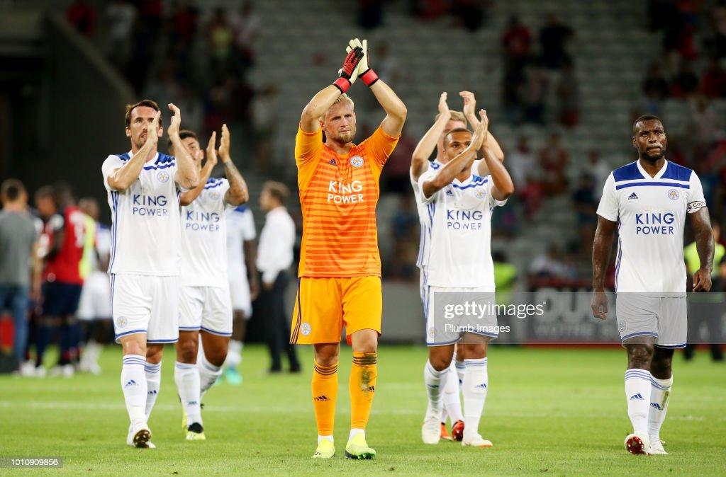 Kasper Schmeichel of Leicester City applauds the travelling fans after the pre-season friendly match between Lille and Leicester City at Stade Pierre Mauroy on August 4, 2018 in Lille, France.