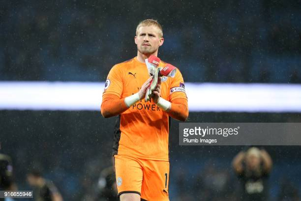 Kasper Schmeichel of Leicester City applauds the travelling fans after the Premier League match between Manchester City and Leicester City at Etihad...