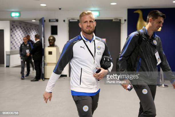 Kasper Schmeichel of Leicester City arrives ahead of the Premier League match between Tottenham Hotspur and Leicester City at Wembley Stadium on May...