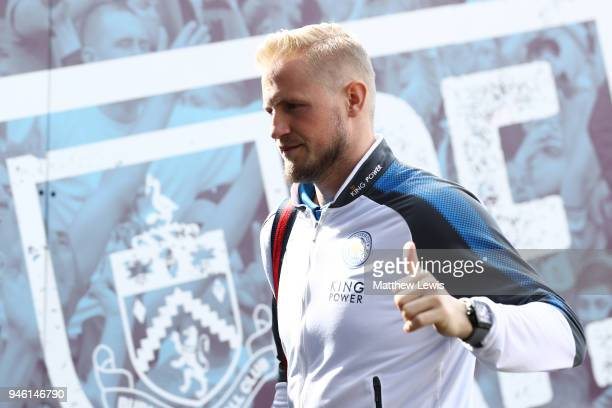 Kasper Schmeichel of Leicester City arrives at the stadium prior to the Premier League match between Burnley and Leicester City at Turf Moor on April...