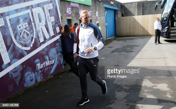 Kasper Schmeichel of Leicester City arrives at Turf Moor ahead the Premier League match between Burnley and Leicester City at Turf Moor on April 14th...
