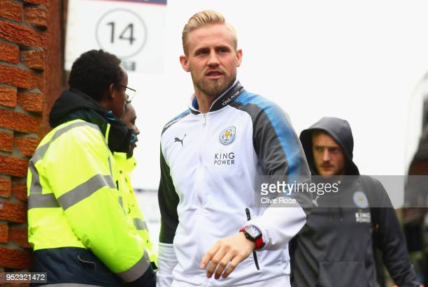 Kasper Schmeichel of Leicester City arrives during the Premier League match between Crystal Palace and Leicester City at Selhurst Park on April 28...