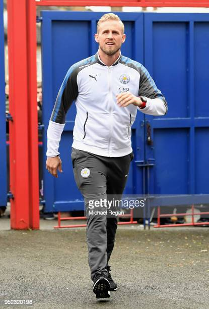 Kasper Schmeichel of Leicester City arrives prior to the Premier League match between Crystal Palace and Leicester City at Selhurst Park on April 28...