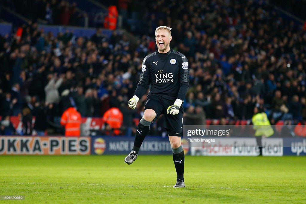 Kasper Schmeichel of Leicester City celebrates a goal during the Barclays Premier League match between Leicester City and Stoke City at the King Power Stadium on January 23 , 2016 in Leicester, United Kingdom.