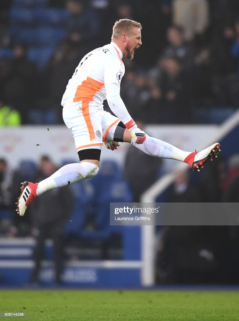 Kasper Schmeichel of Leicester City celebrates after his sides first goal during the Premier League match between Leicester City and AFC Bournemouth at The King Power Stadium on March 3, 2018 in Leicester, England.