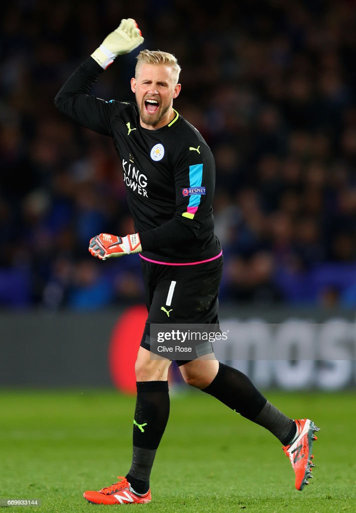 Kasper Schmeichel of Leicester City celebrates after Jamie Vardy of Leicester City (not pictured) scored Leicester City's first goal during the UEFA Champions League Quarter Final second leg match between Leicester City and Club Atletico de Madrid at The King Power Stadium on April 18, 2017 in Leicester, United Kingdom.