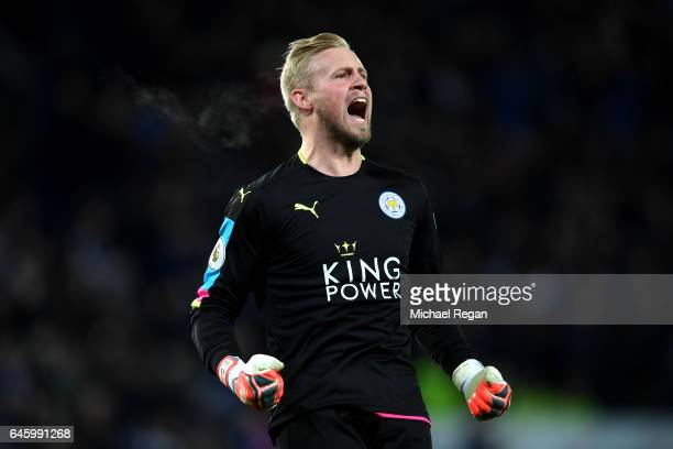 Kasper Schmeichel of Leicester City celebrates after Leicester City score their first goal during the Premier League match between Leicester City and...
