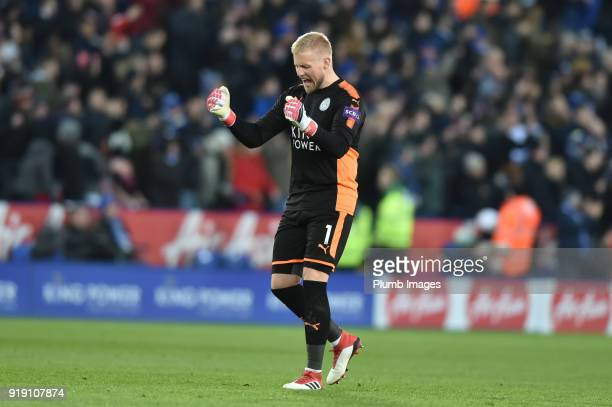 Kasper Schmeichel of Leicester City celebrates after Leicester City took a 10 lead during the FA Cup Fifth round match between Leicester City and...