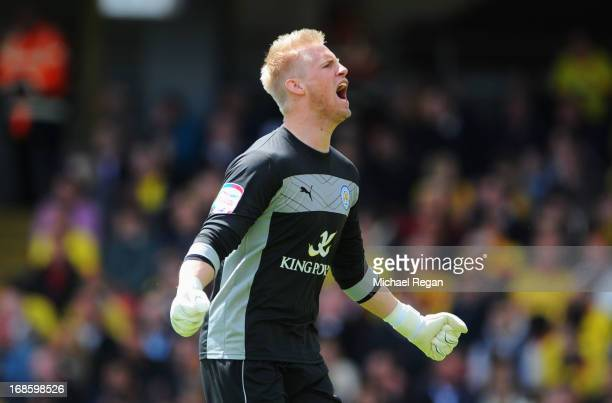 Kasper Schmeichel of Leicester City celebrates as David Nugent of Leicester City scores their first goal during the npower Championship Play Off Semi...