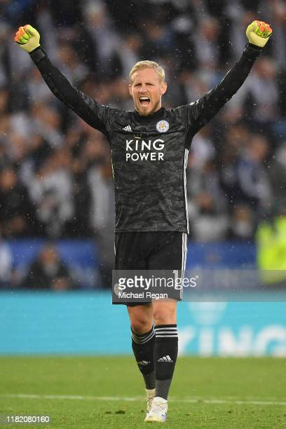 Kasper Schmeichel of Leicester City celebrates during the Premier League match between Leicester City and Burnley FC at The King Power Stadium on...