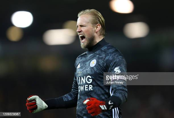 Kasper Schmeichel of Leicester City celebrates during the Premier League match between Norwich City and Leicester City at Carrow Road on February 28...