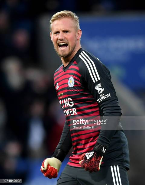 Kasper Schmeichel of Leicester City celebrates his sides first goal during the Premier League match between Leicester City and Manchester City at The...