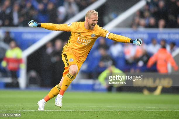 Kasper Schmeichel of Leicester City celebrates his sides first goal during the Premier League match between Leicester City and Newcastle United at...